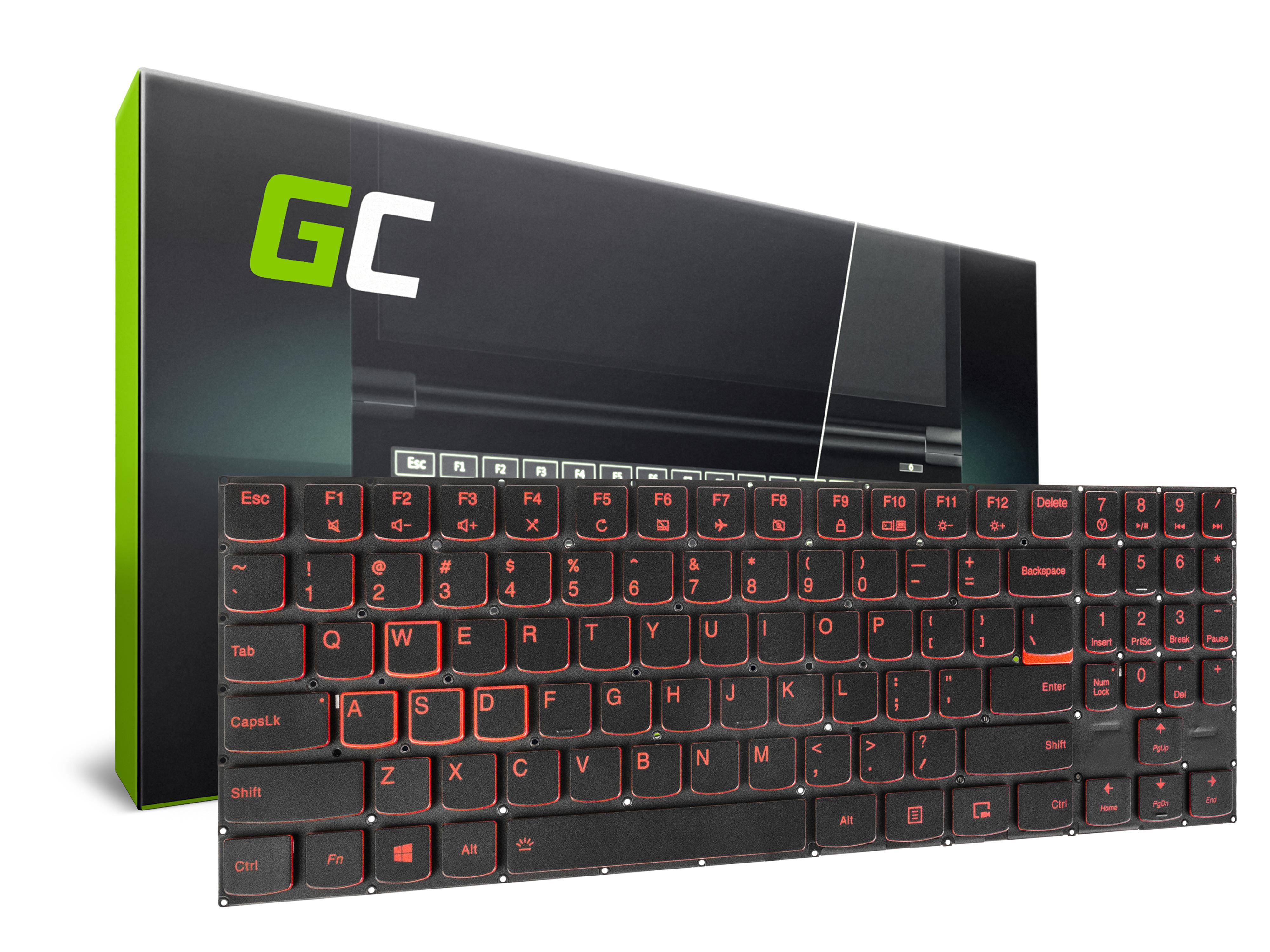 Green Cell Laptop Tangentbord för Lenovo Legion Y520 Y520-15 Y720 Y720-15 Bakgrundsbelyst
