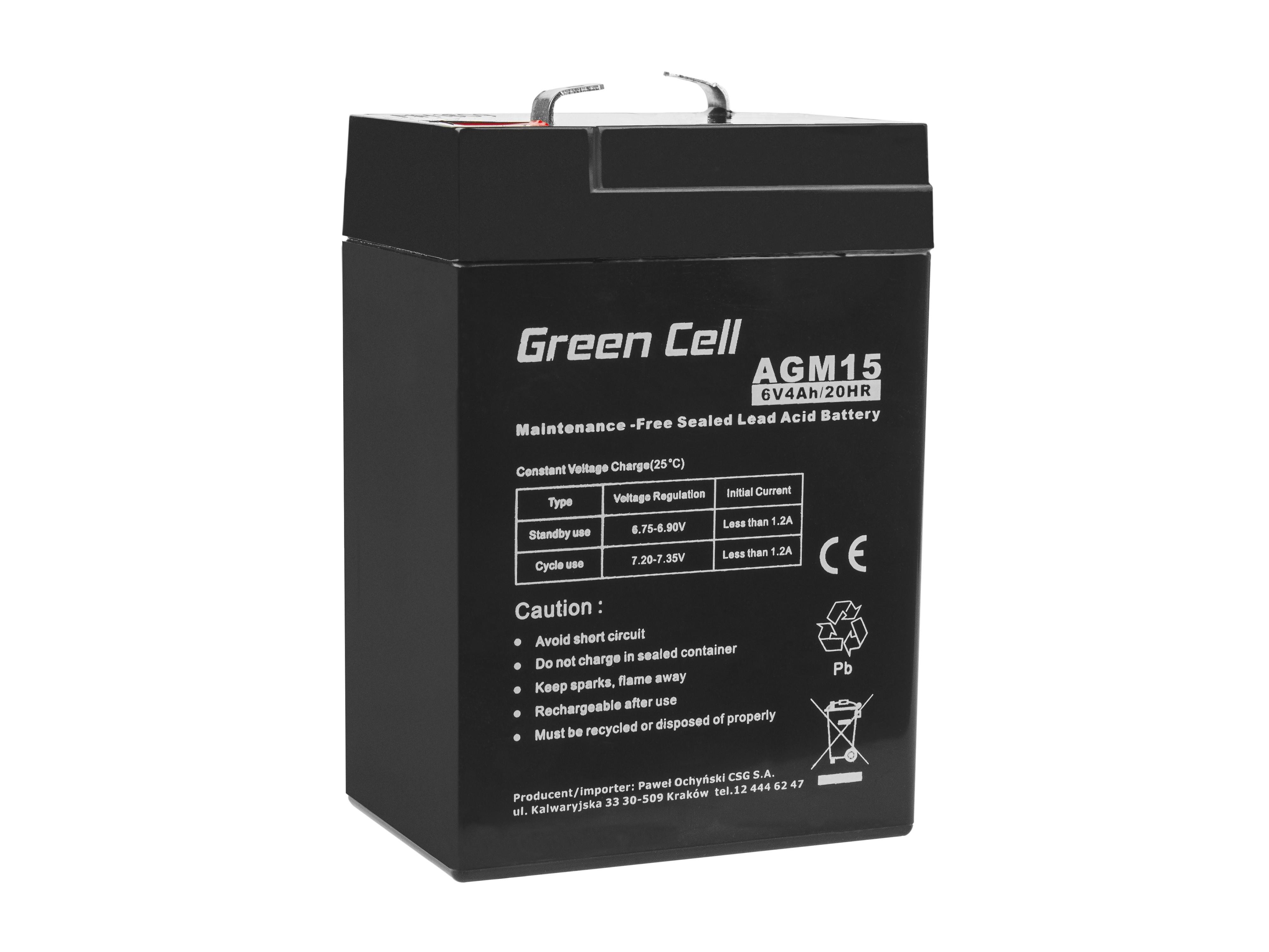 Green Cell AGM Batteri 6V 4Ah