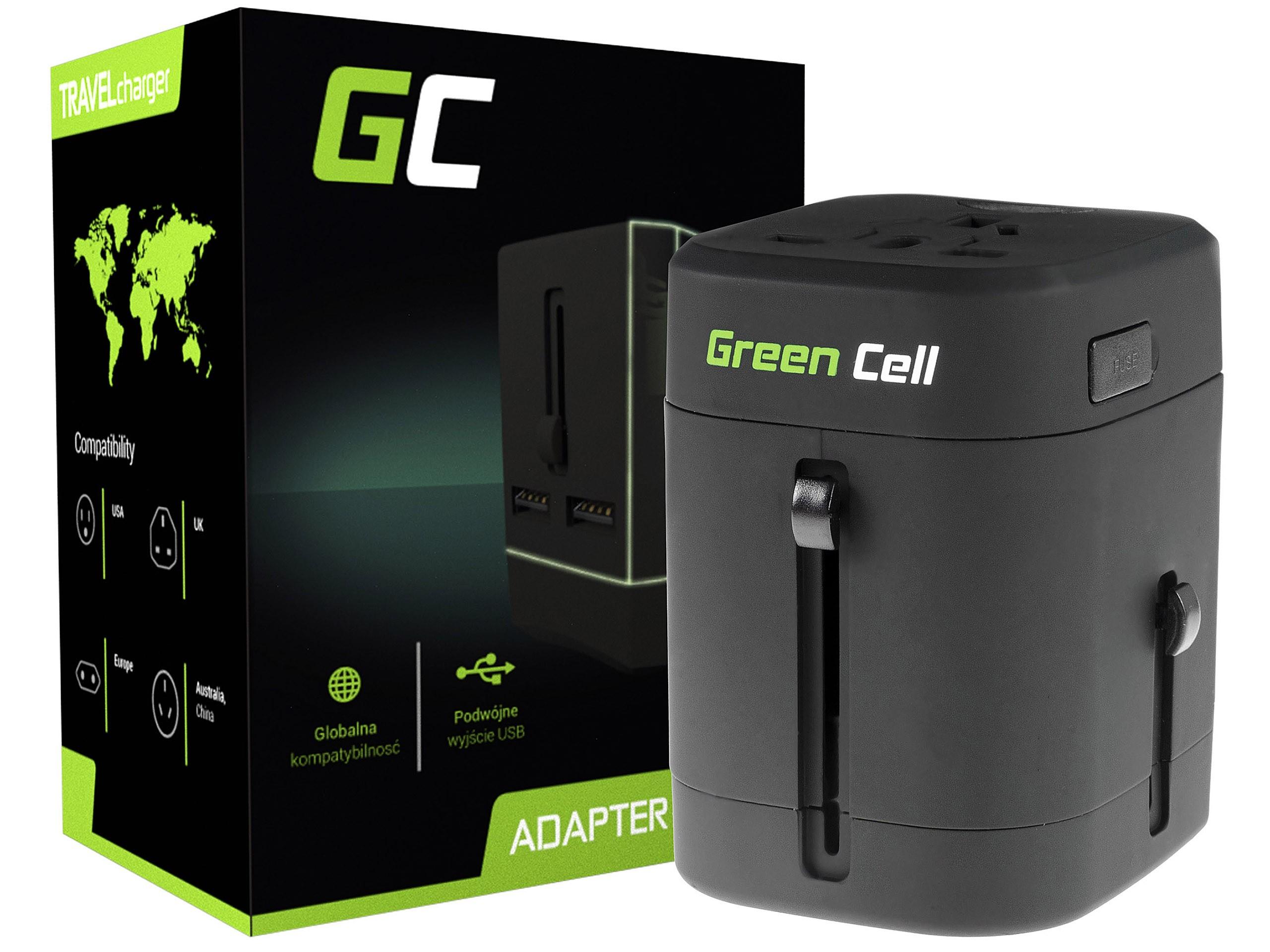 Green Cell universaladapter till eluttag med USB-portar