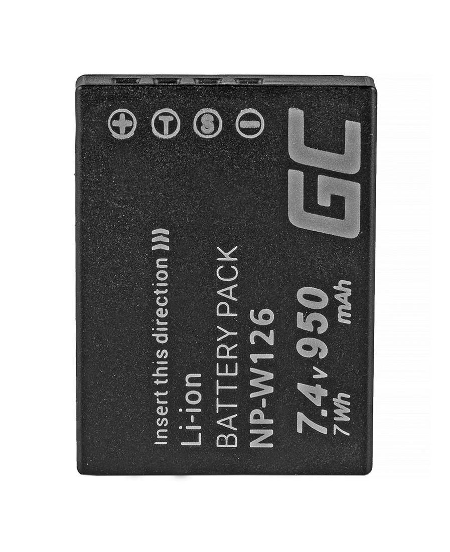 Green Cellbatteri NP-W126 Fujifilm FinePix HS30EXR, HS33EXR, HS50EXR, X-A1, X-A3, X-E1, X-E2, X-M1, X-T1, X-T2 7.4V 950mAh