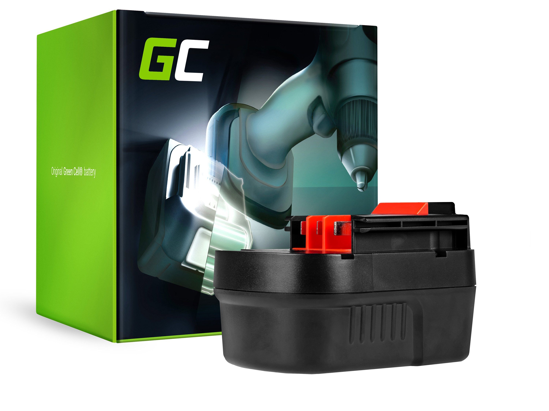 Green Cellverktygsbatteri för black&decker A12 A1712 HPB12 12V 2Ah