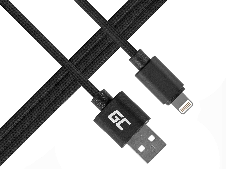 Green Cell Lightning-USB för Apple iPhone iPad Nylon 1m kabel