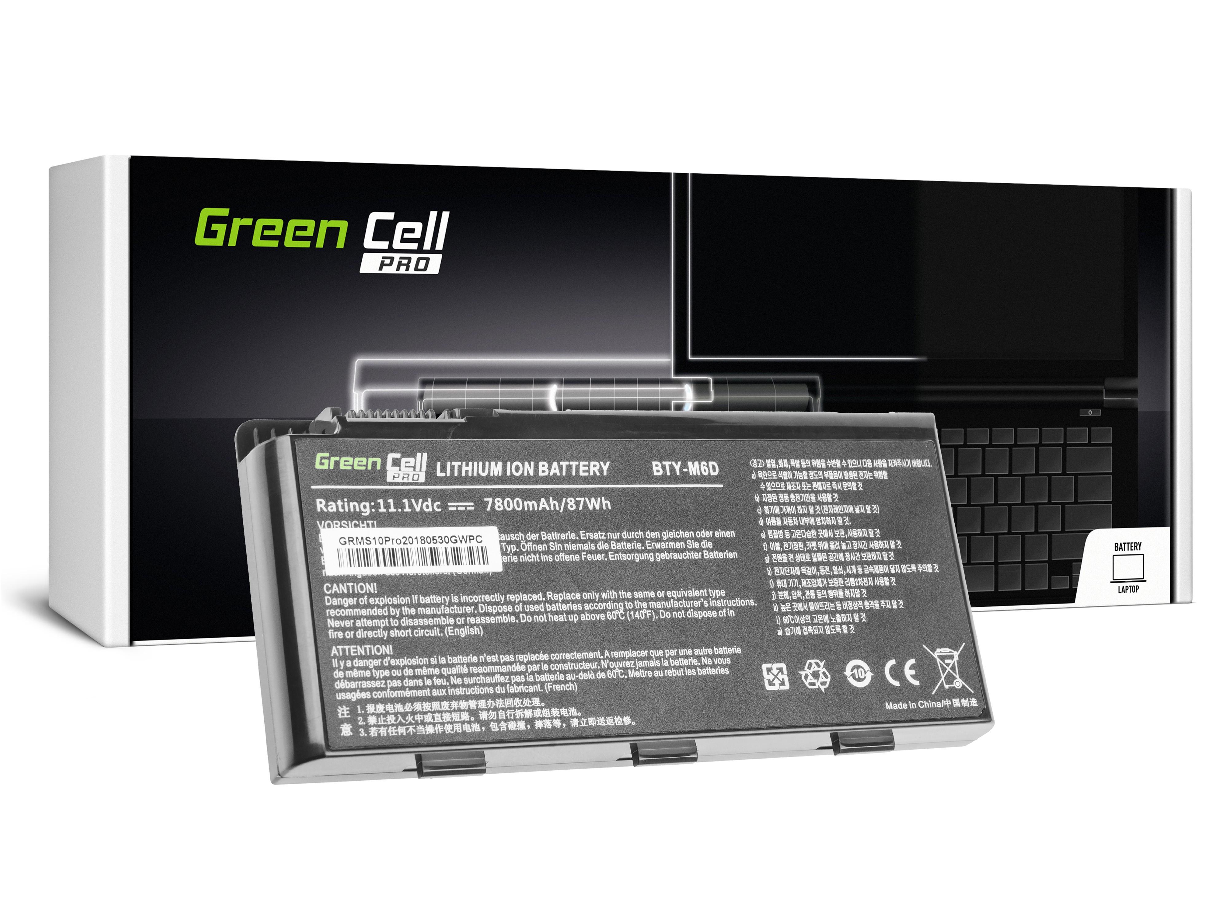 Green Cell PRO Batteri för MSI GT60 GT70 GT660 GT680 GT683 GT780 GT783 GX660 GX680 GX780 / 11,1V 6600mAh