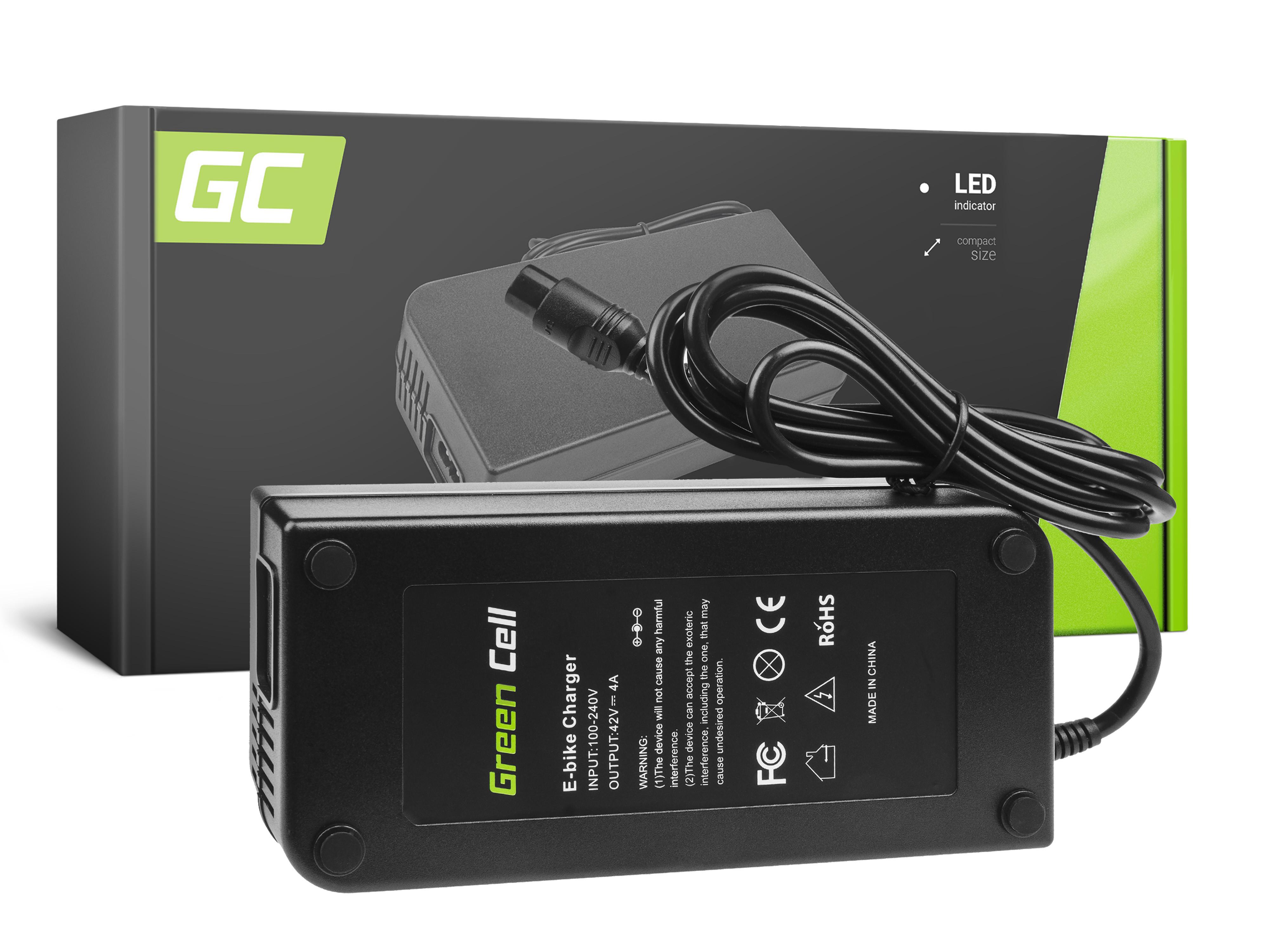 Green Cell Laddare 42V 4A (3 stift) för EBIKE-batterier 36V