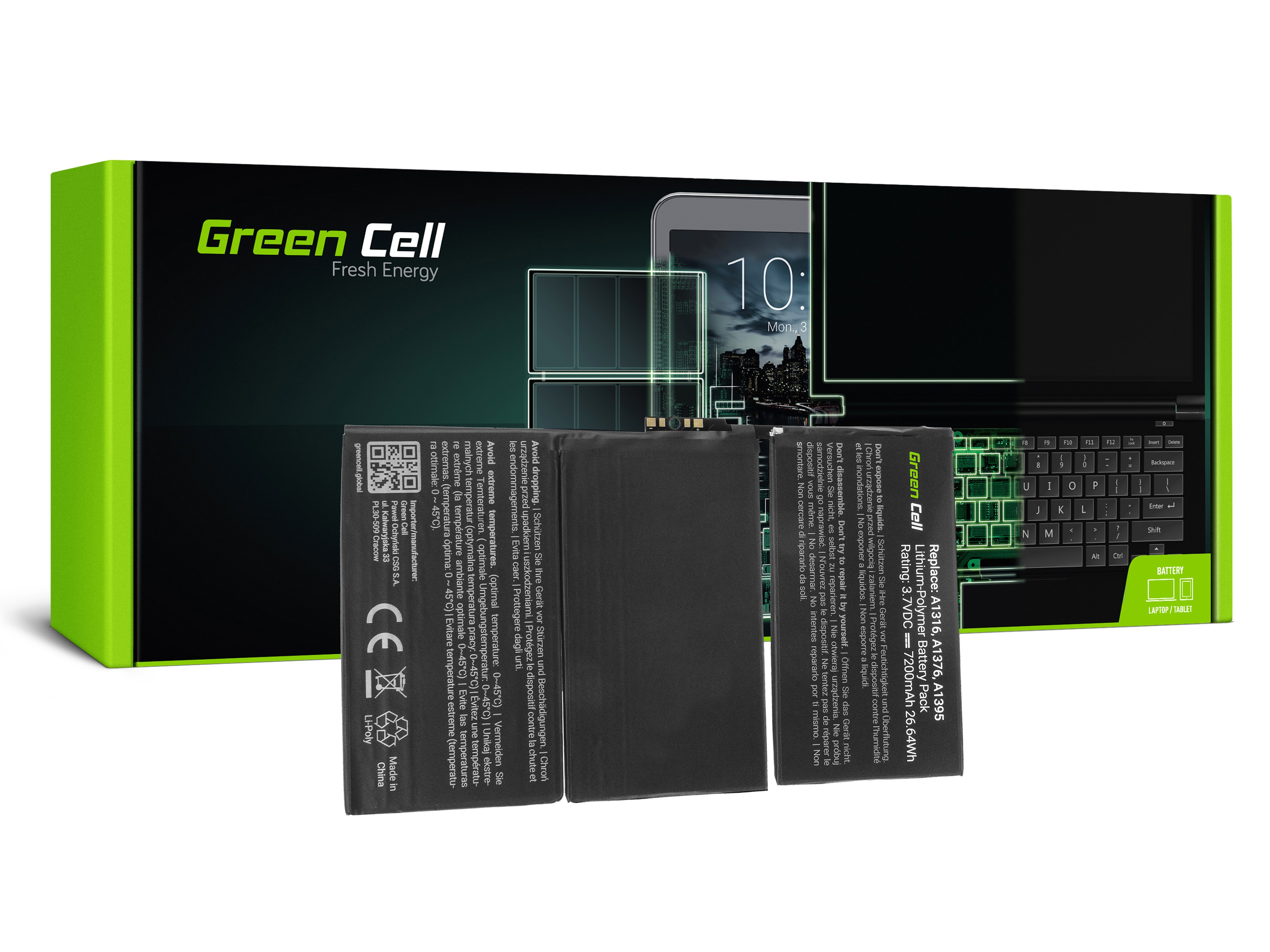 Batteri av Green Cellsurfplatta A1376 Apple iPad 2 A1395 A1396 A1397
