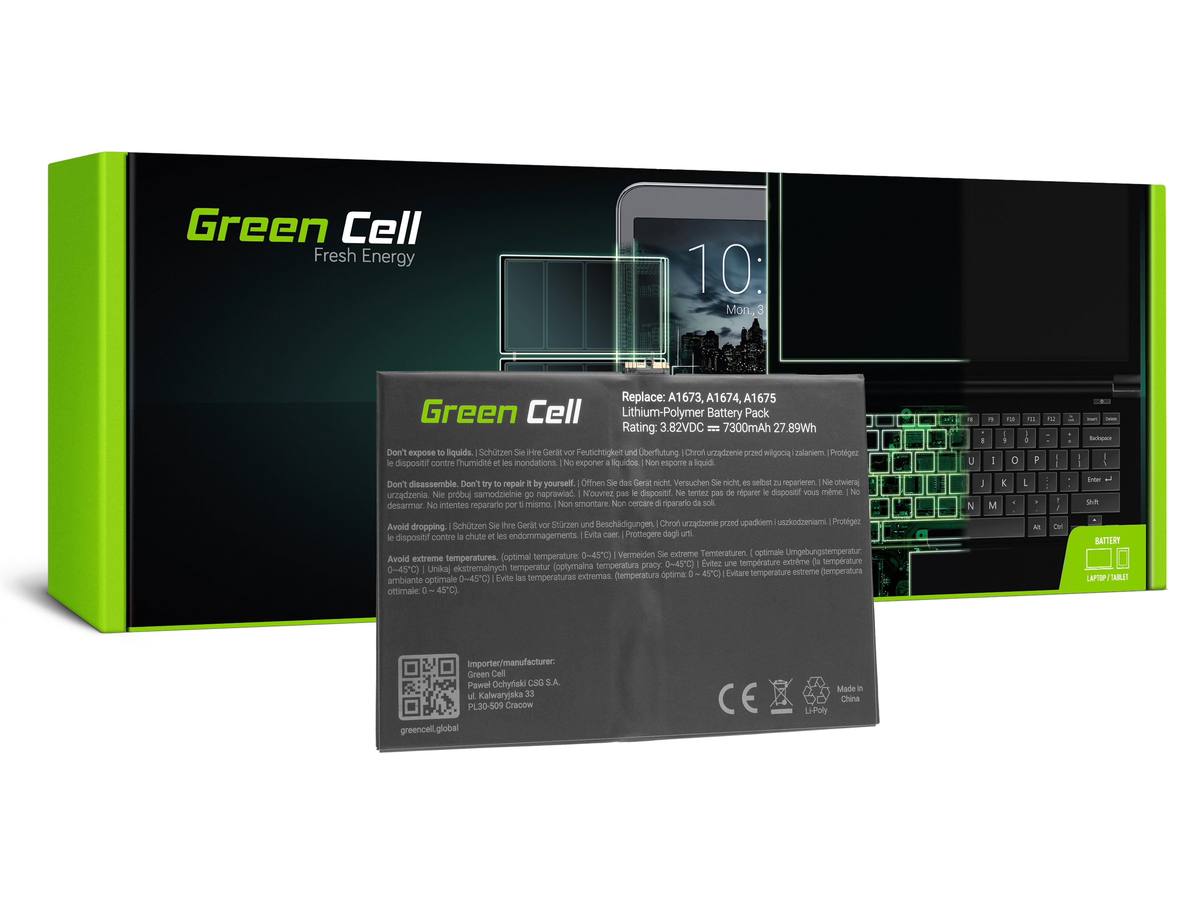 Green Cell sett till Batteri av en 1664 Apple iPad Pro 9,7 A1673 A1674 A1675