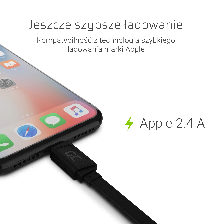 GCmatte Lightning Platt kabel 25 cm med snabb laddning Apple 2.4A