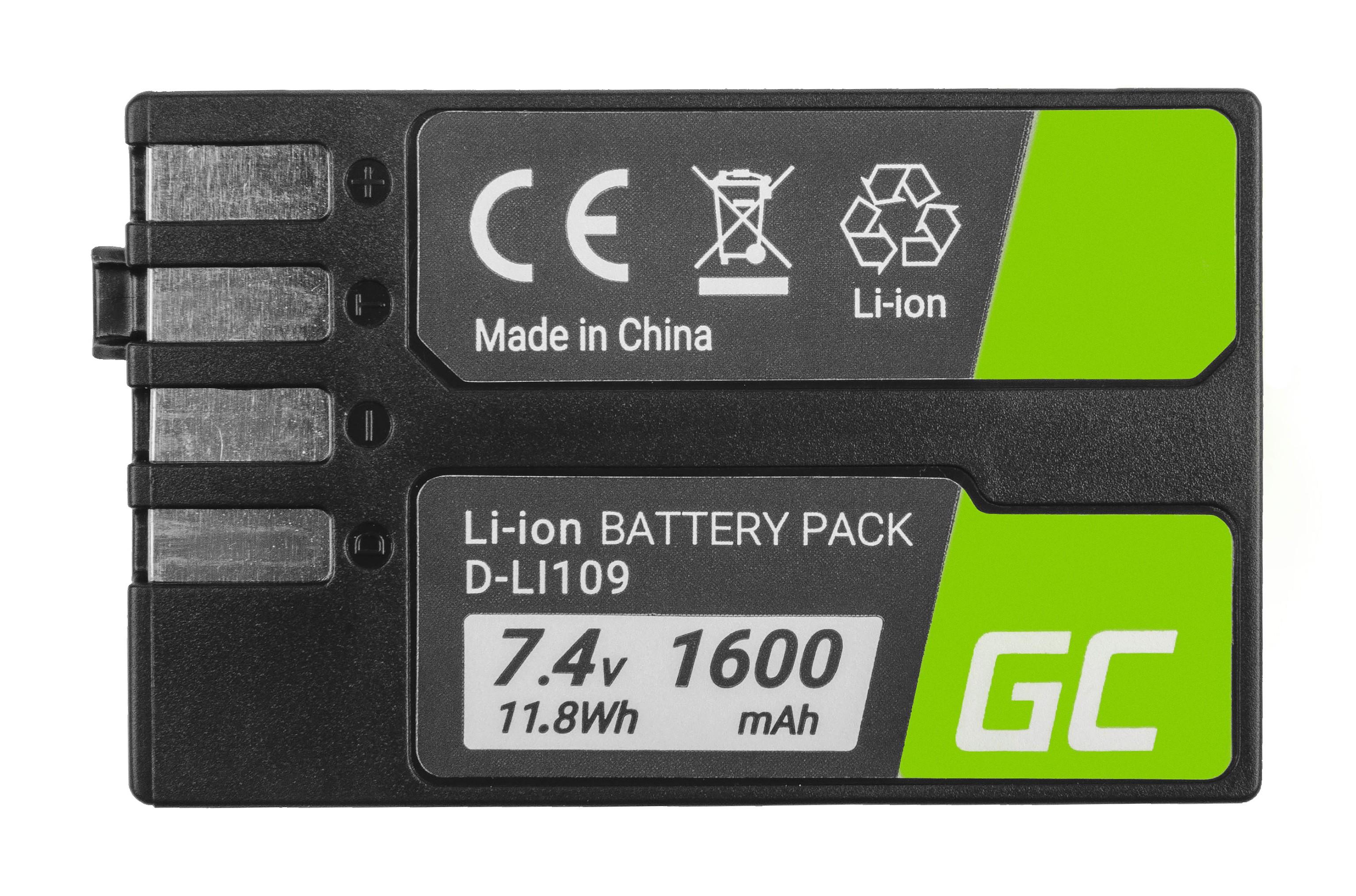 Batteri D-Li109 DLi109 do Pentax Kr, K-2, K-30, K-50, K-500, K-S1, K-S2 7.4V 1600mAh
