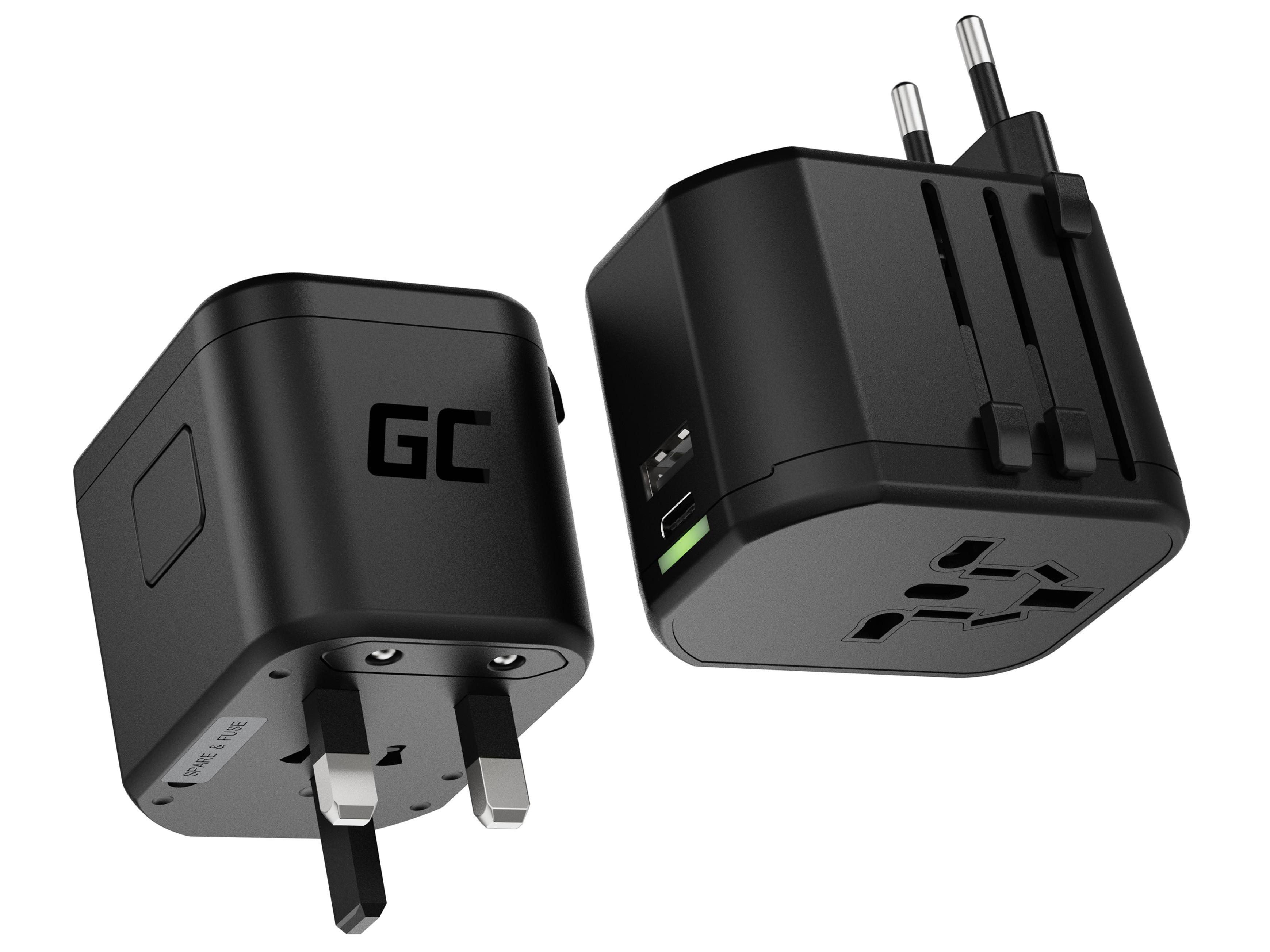 GC TripCharge PRO Universal adapter med USB-A UC- och USB-C PD 18W-portar