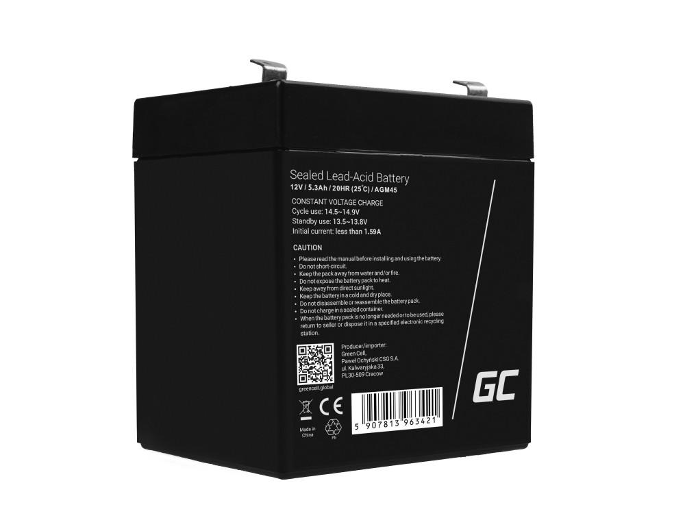 AGM Batteri BlySyra 12V 5.3Ah Underhåll Gratis för larm och bil