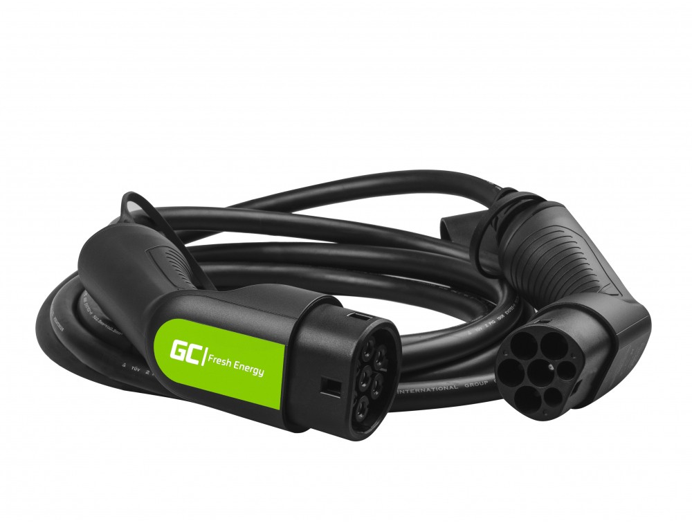 Kabel GC Typ 2 22kW 5m för laddning EV Tesla Leaf Ioniq Kona E-tron Zoe