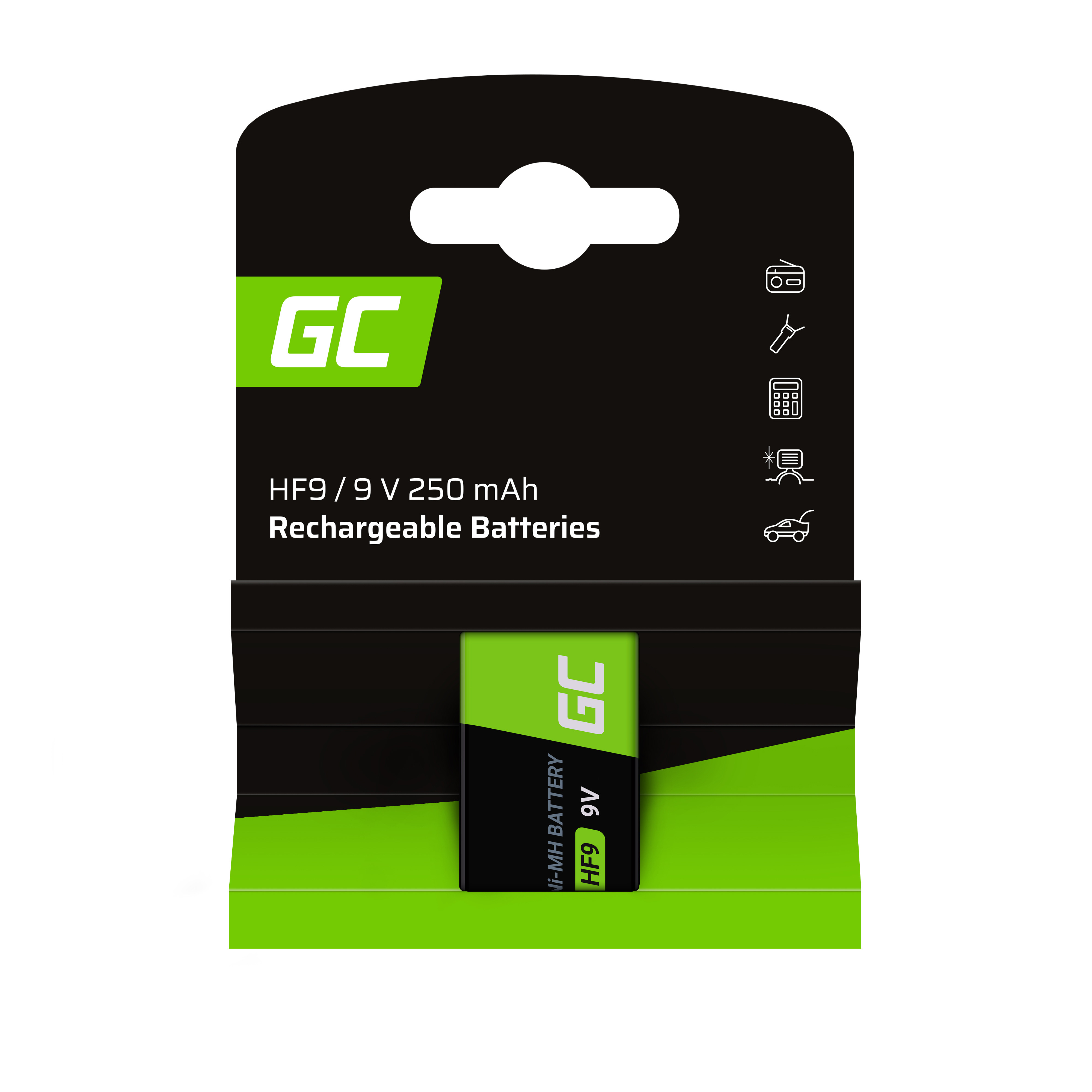 Batteri 1x 9V HF9 Ni-MH 250mAh Grön Cell
