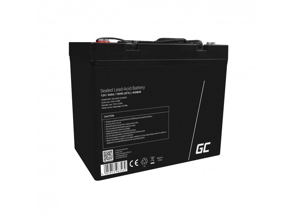 AGM Batteri Blysyra 12V 55Ah Underhåll Gratis för båt och jolle
