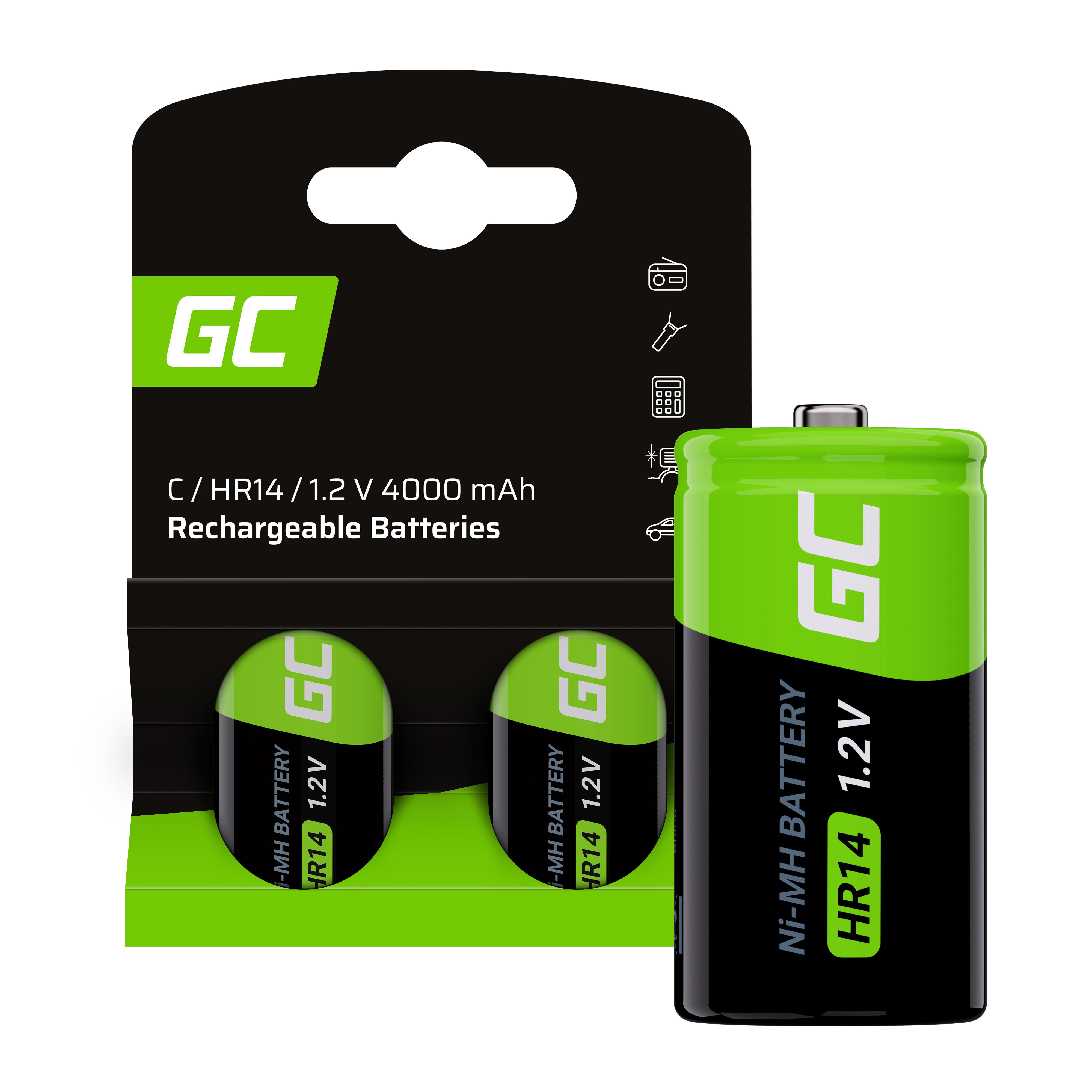 Uppladdningsbara batterier 2x C R14 HR14 Ni-MH 1.2V 4000mAh Grön Cell