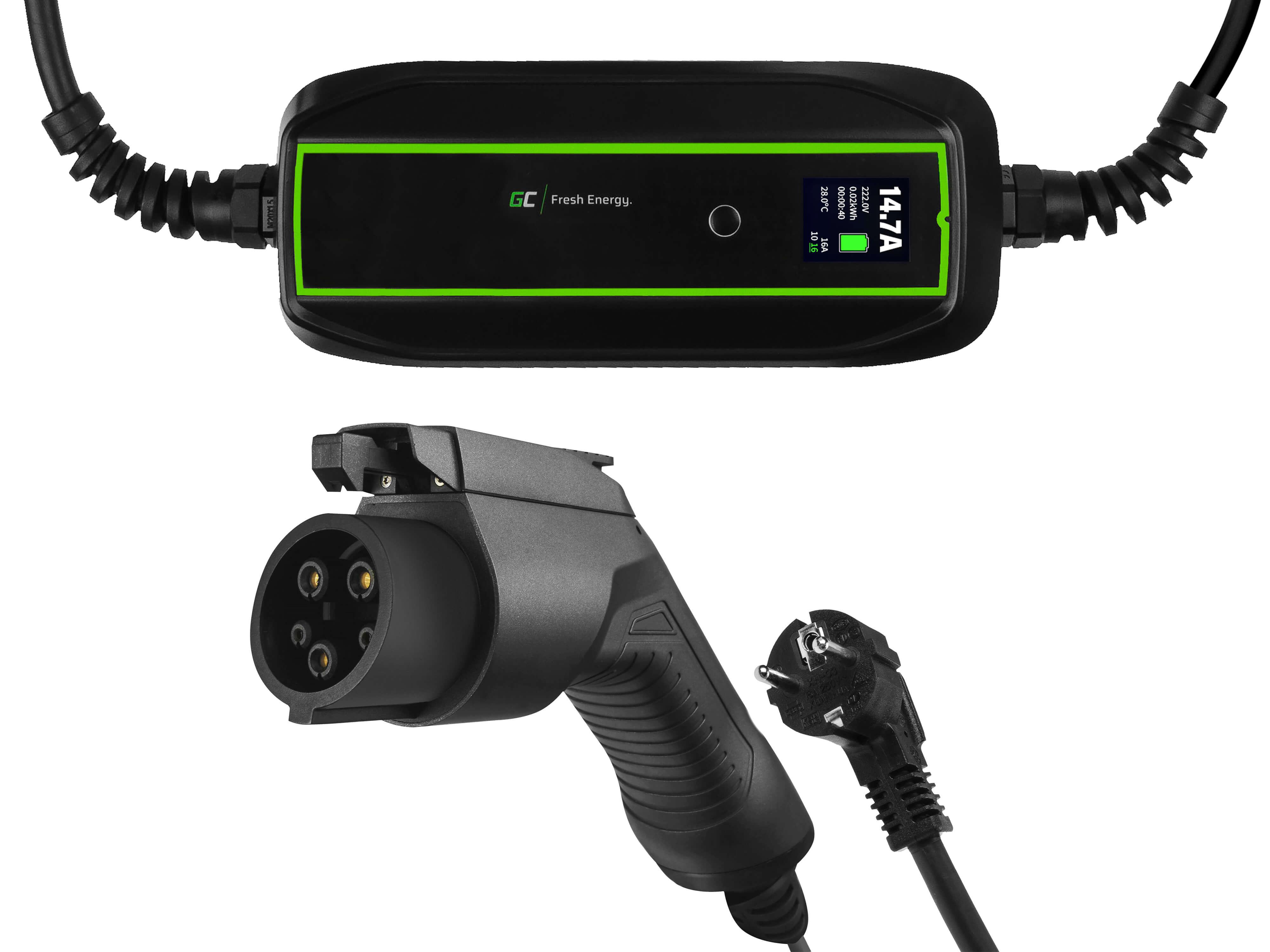 GC EV PowerCable 3.6kW Schuko - Typ 1 mobil laddare för laddning av elbilar och Plug-In hybrider