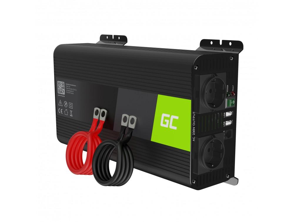 Green Cell Inverter 12V till 230V 1000W/2000W + USB
