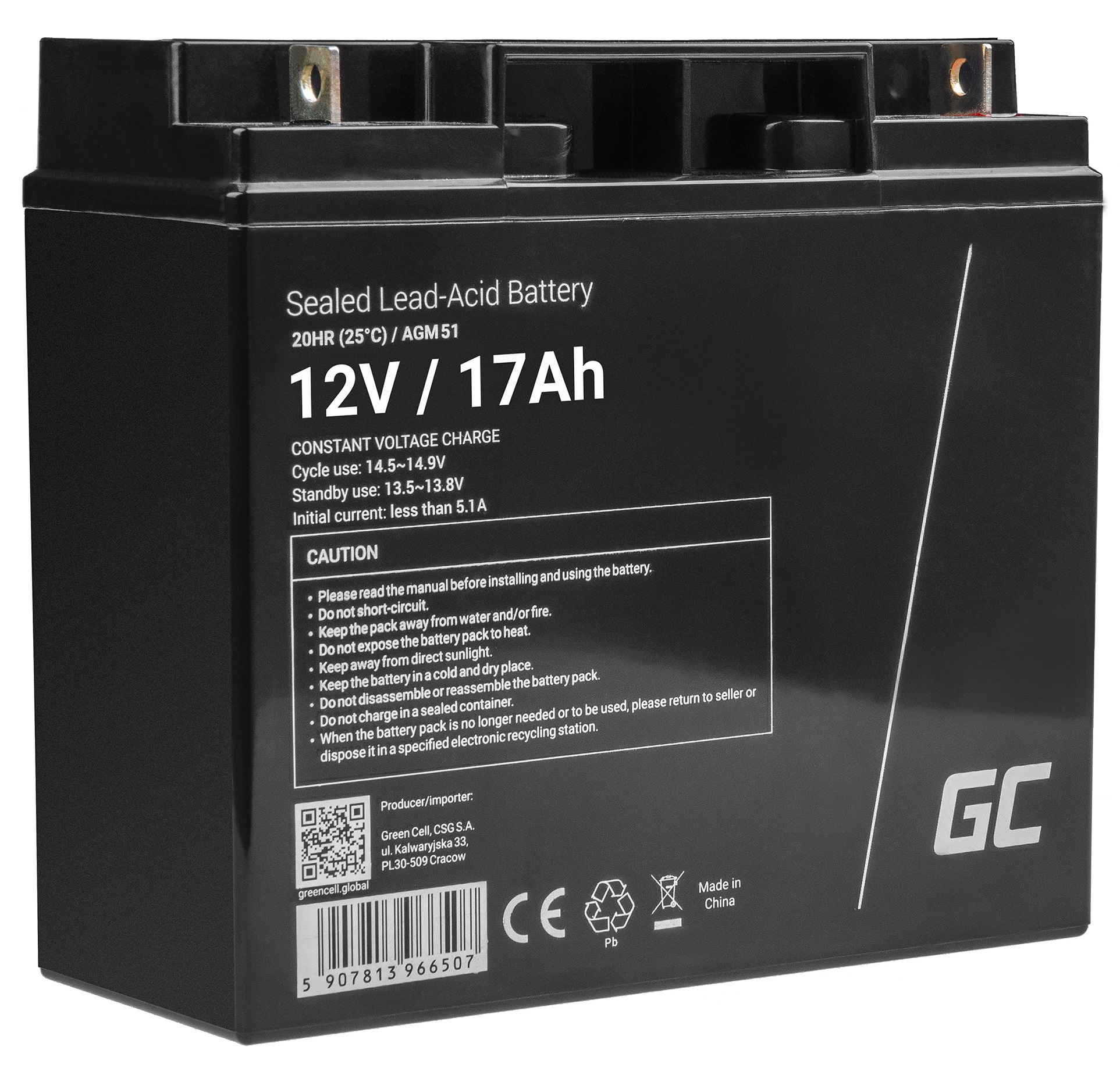 AGM Battery Lead Acid VRLA 12V 17Ah for motor boats and electric vehicles