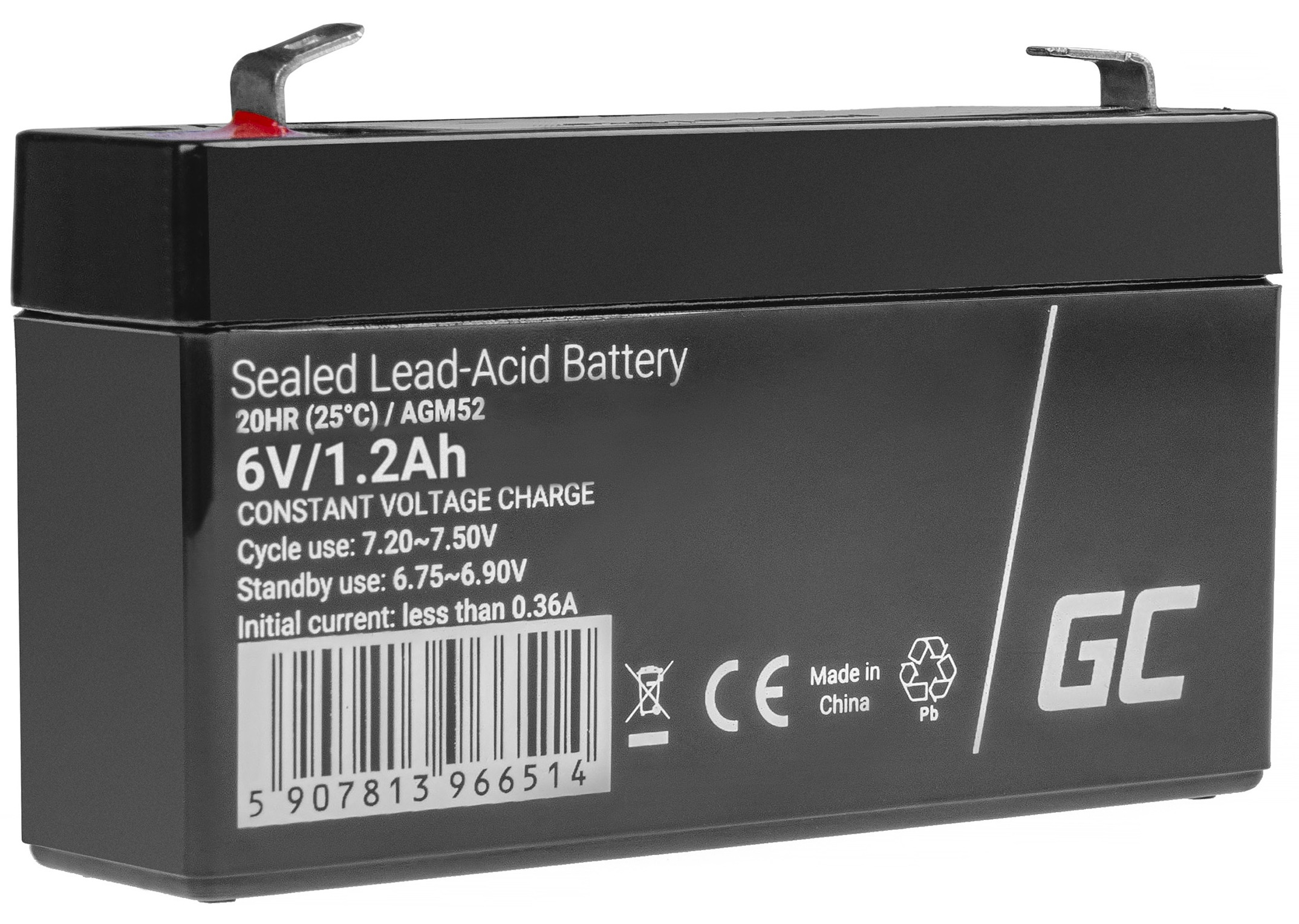 AGM Battery Lead Acid AGM VRLA 6V 1.2Ah for toys and alarms