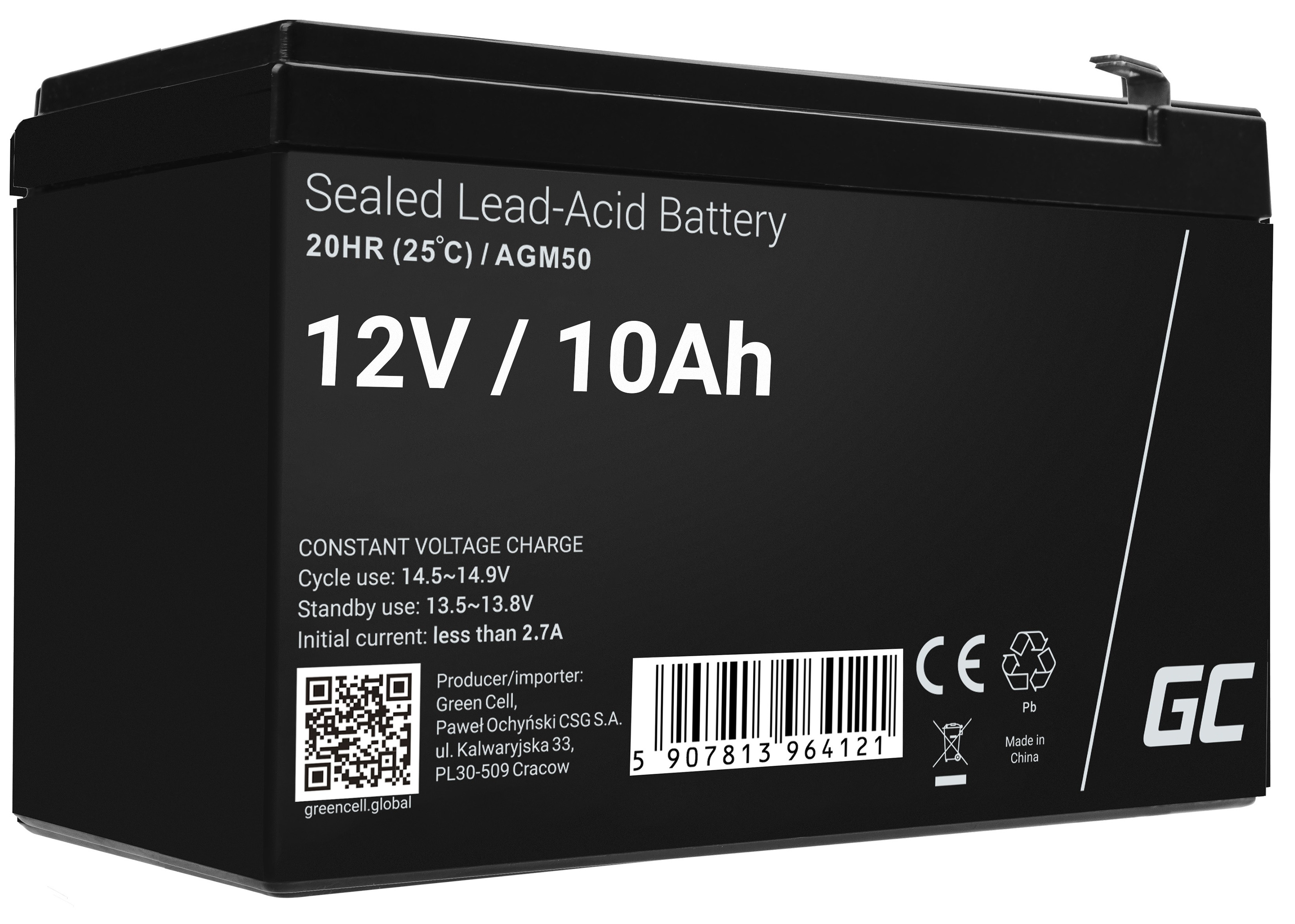 AGM Battery Lead Acid 12V 10Ah Maintenance Free for UPS and probes