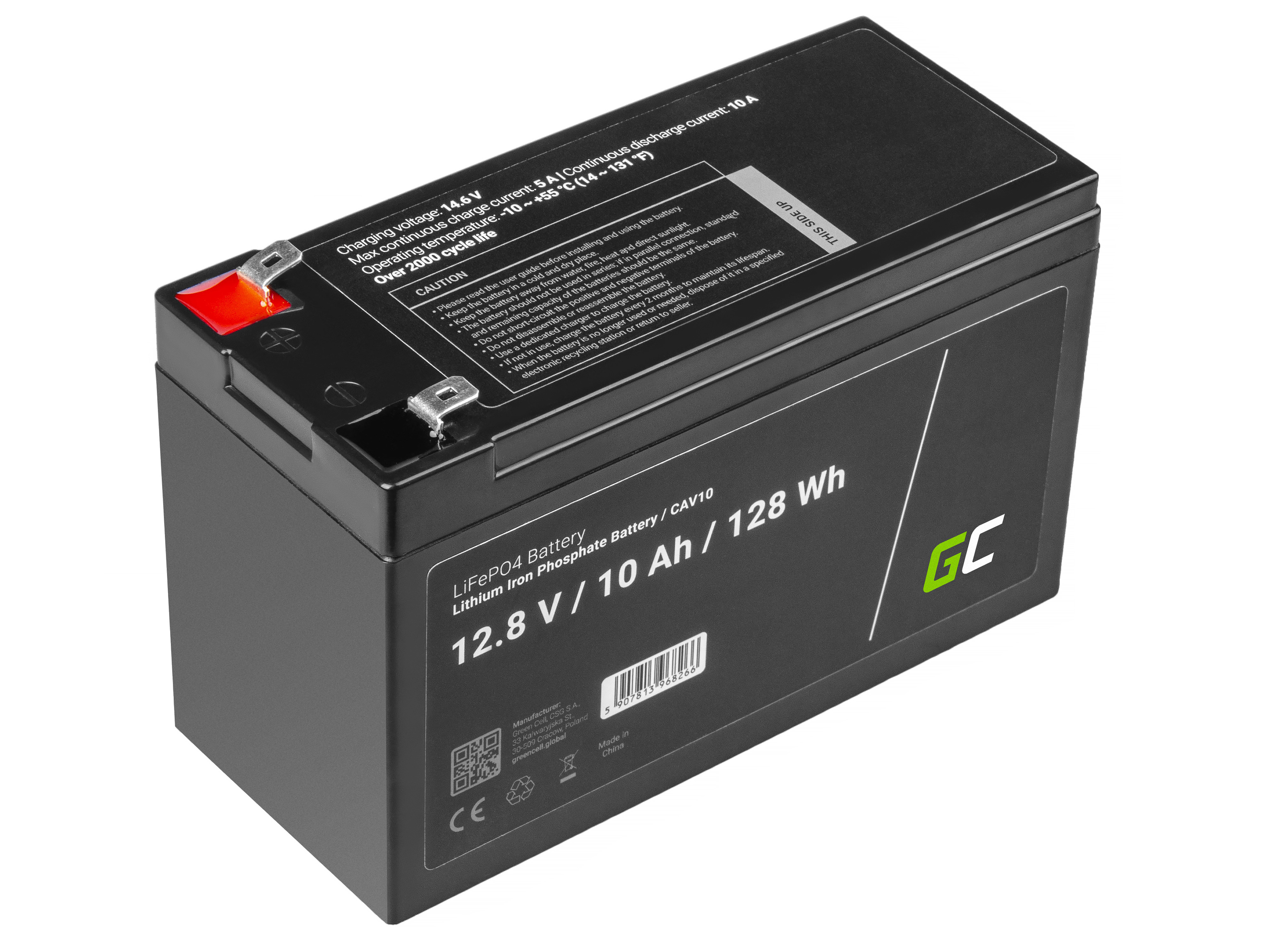 Battery Lithium-iron-phosphate LiFePO4 12V 12.8V 10Ah for photovoltaic system, campers and boats