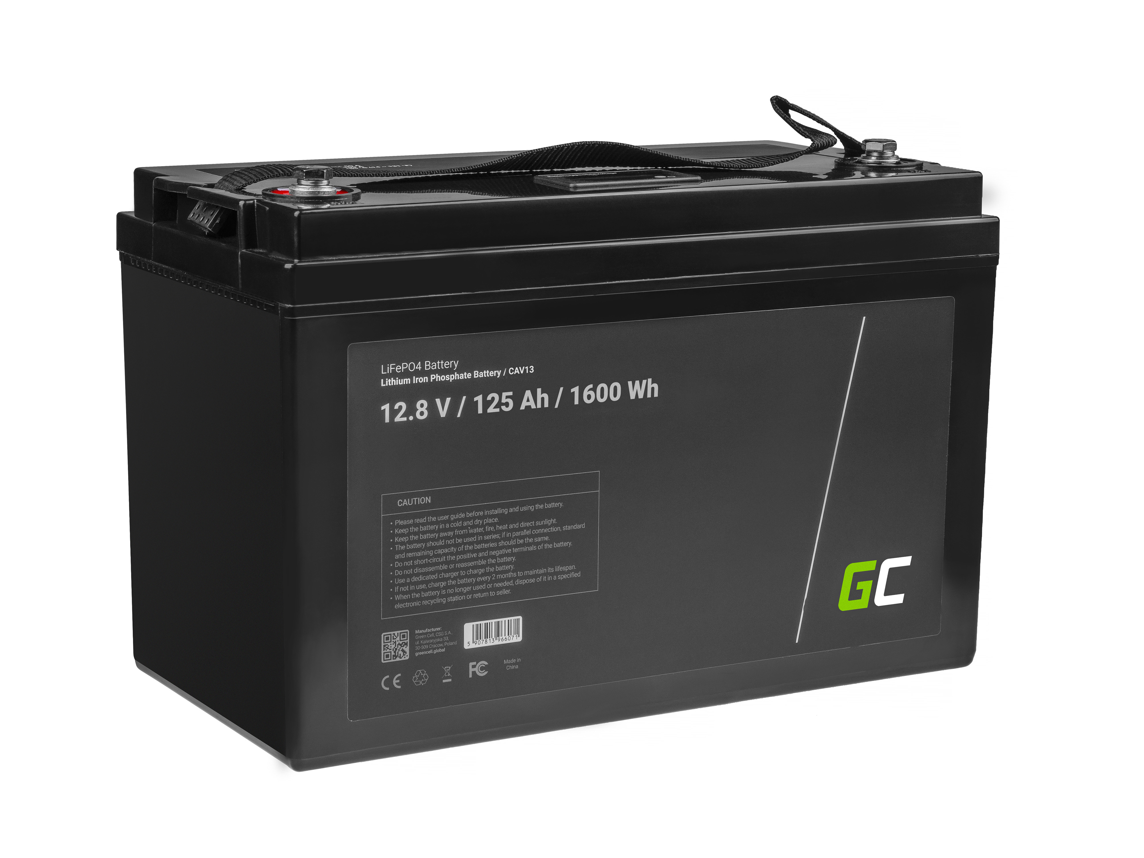 Battery Lithium-iron-phosphate LiFePO4 12V 12.8V 125Ah for photovoltaic system, campers and boats