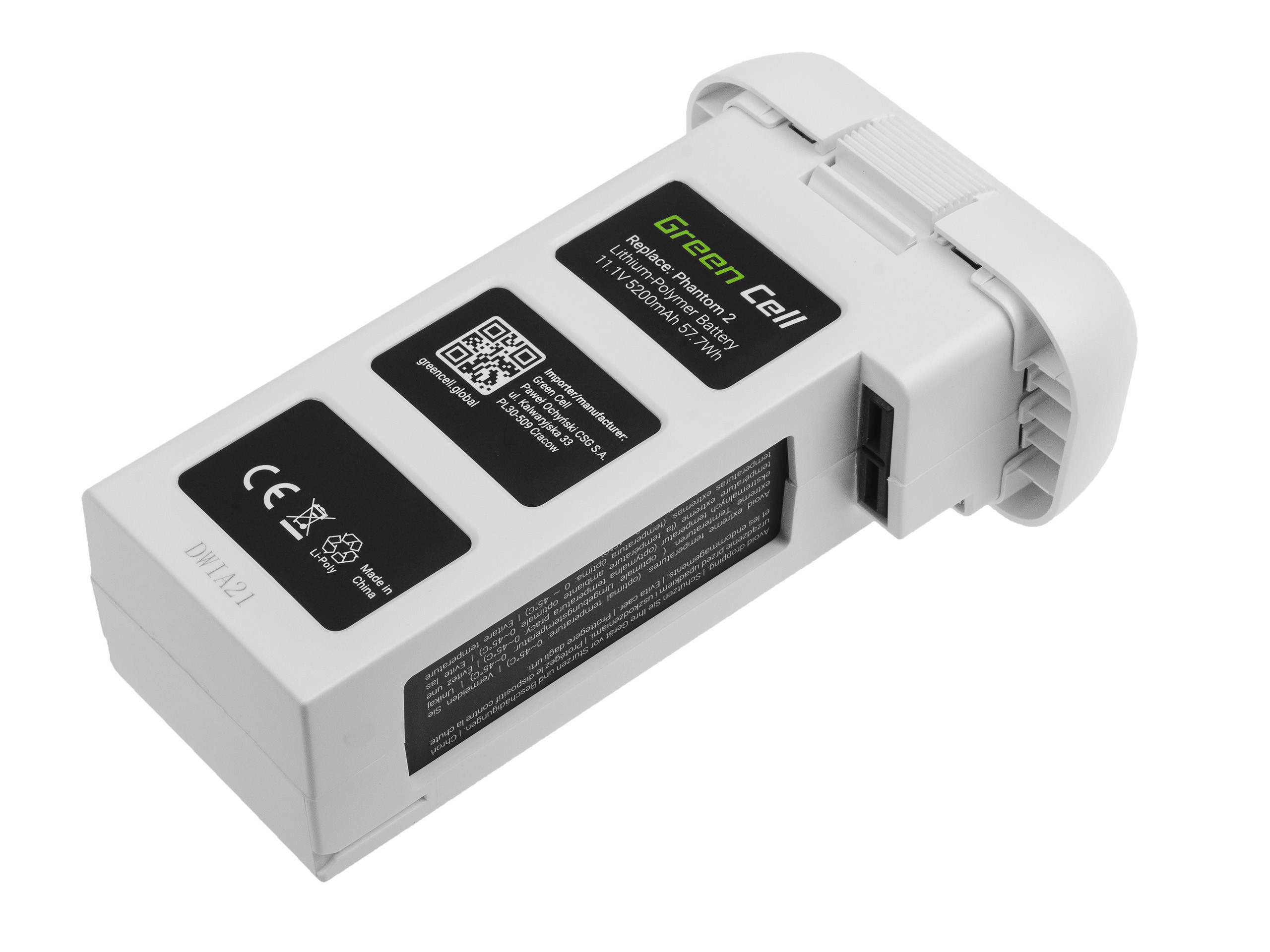 Green Cell Drone Batteri för DJI Phantom 2, Phantom 2 Vision + 11.1V 5200mAh 57.7Wh