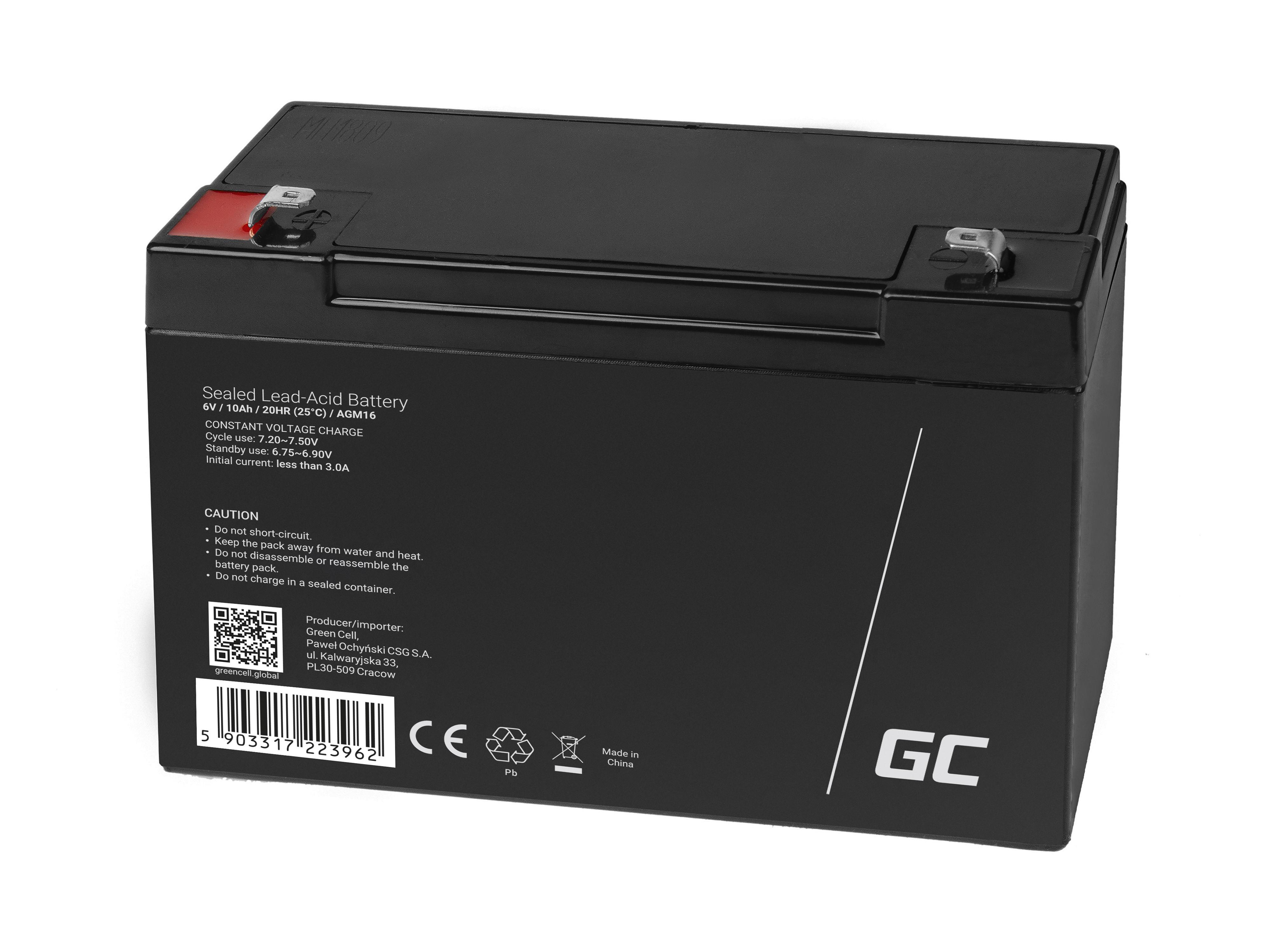 Green Cell AGM Batteri 6V 10Ah