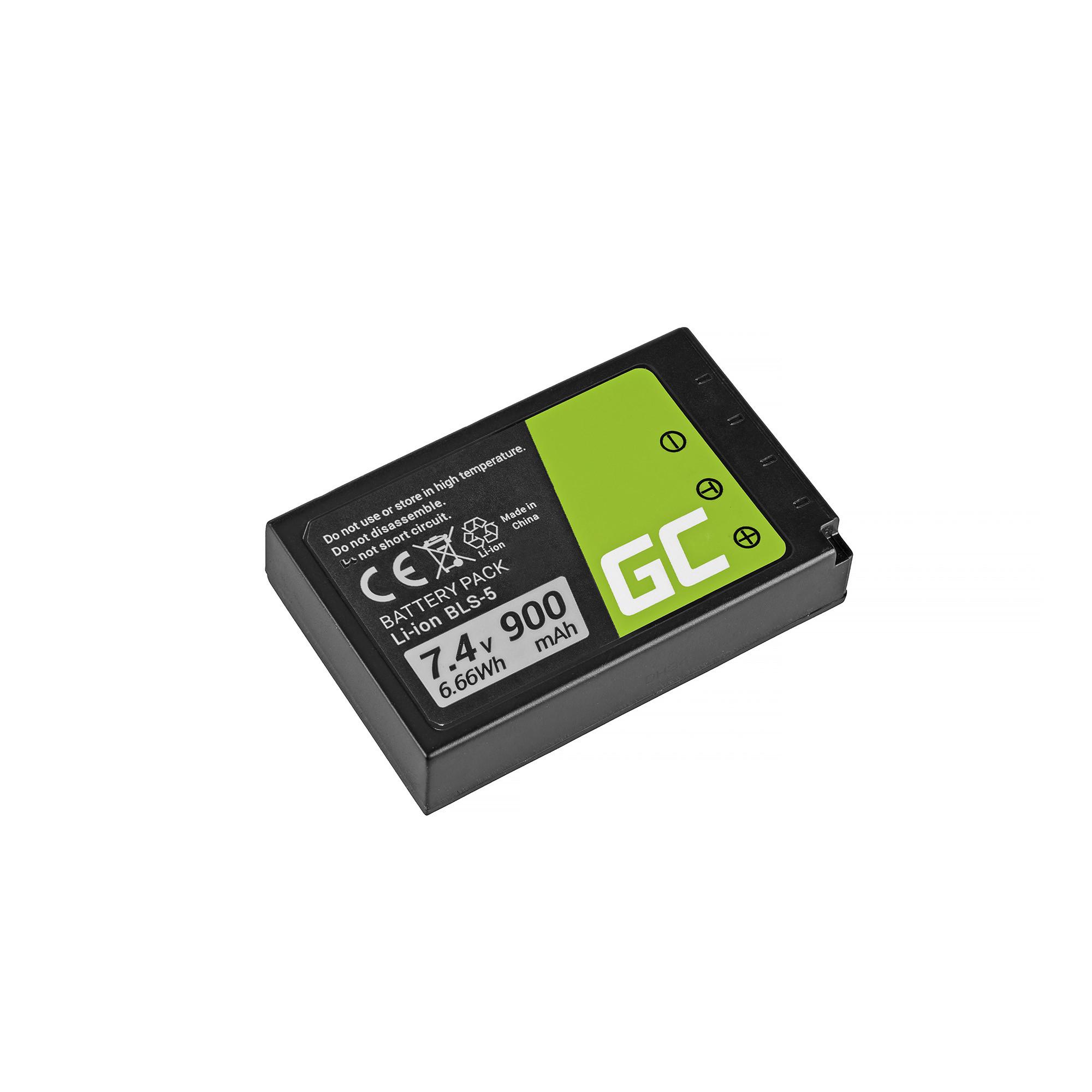 Green Cellbatteri BLS-5 / BLS-50 Olympus OM-D E-M10, PEN E-PL2, E-PL5, E-PL6, E-PL7, E-PM2, Stylus 1 7.4V 900mAh