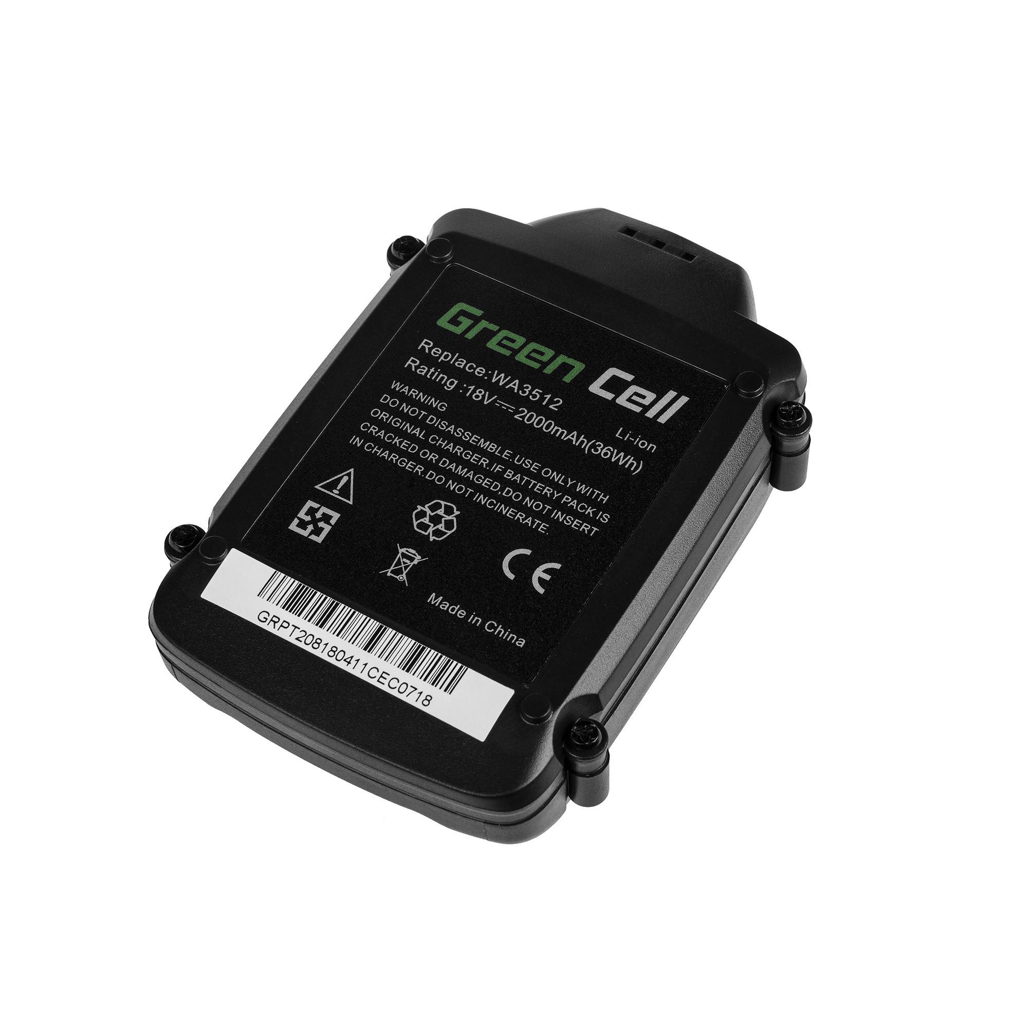 Green Cellverktygbatteri WA3511 WA3512 WA3516 WA3523 för WORX WG151 WG251 WG540 WU289 WU381 WX163 WX164 WX368 AL-KO GTli 18