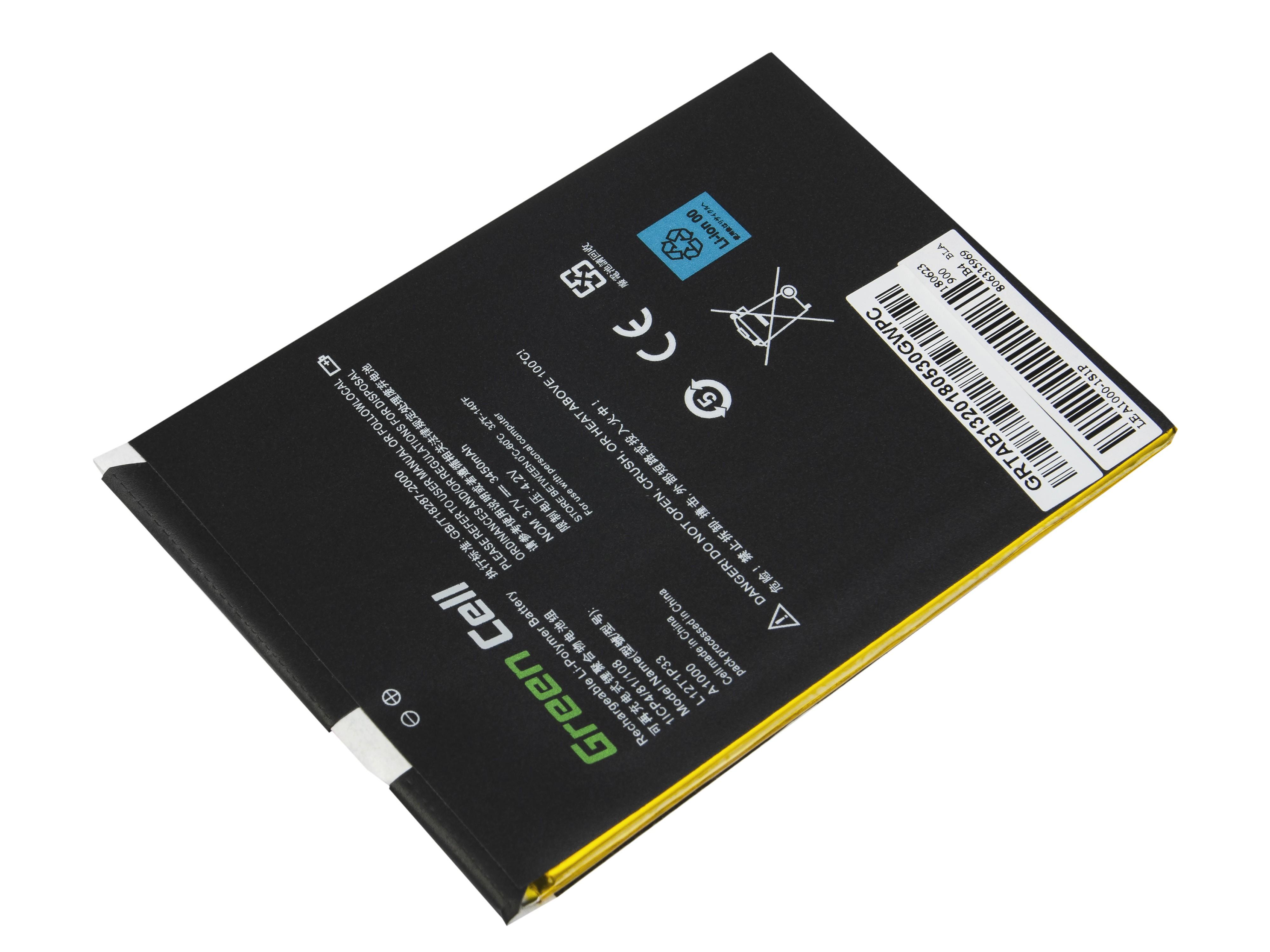 Batteri av Green Celltablett L12D1P31 L12T1P33 Lenovo Ideatab A1000 A3000
