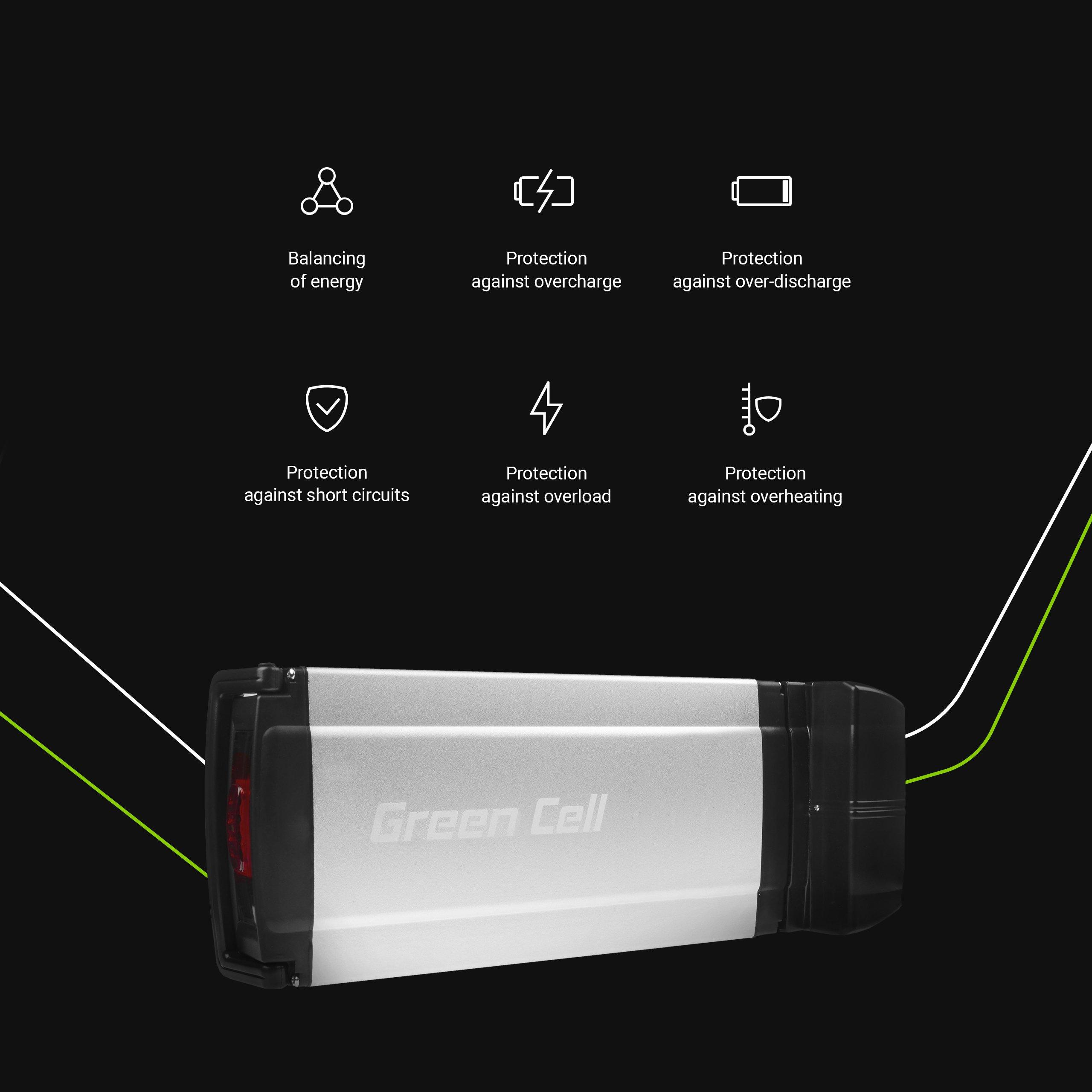 Batteri bakre rack 36V 8.8Ah 317Wh för E-Bike Pedelec