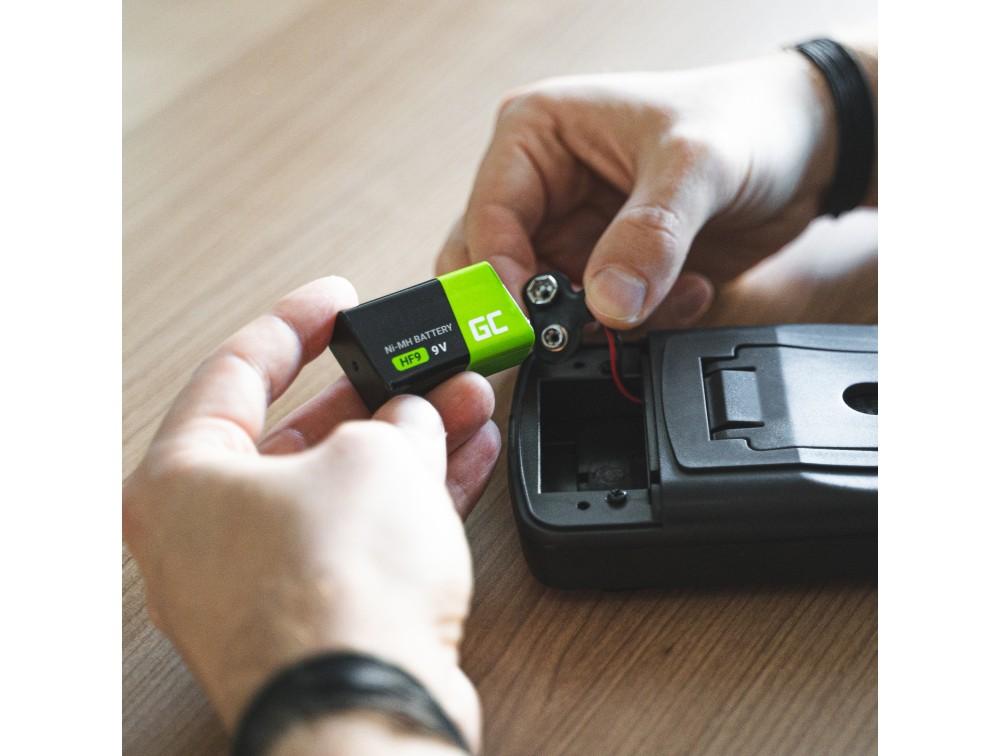 Batterier uppladdningsbara 2x 9V HF9 Ni-MH 250mAh Grön Cell