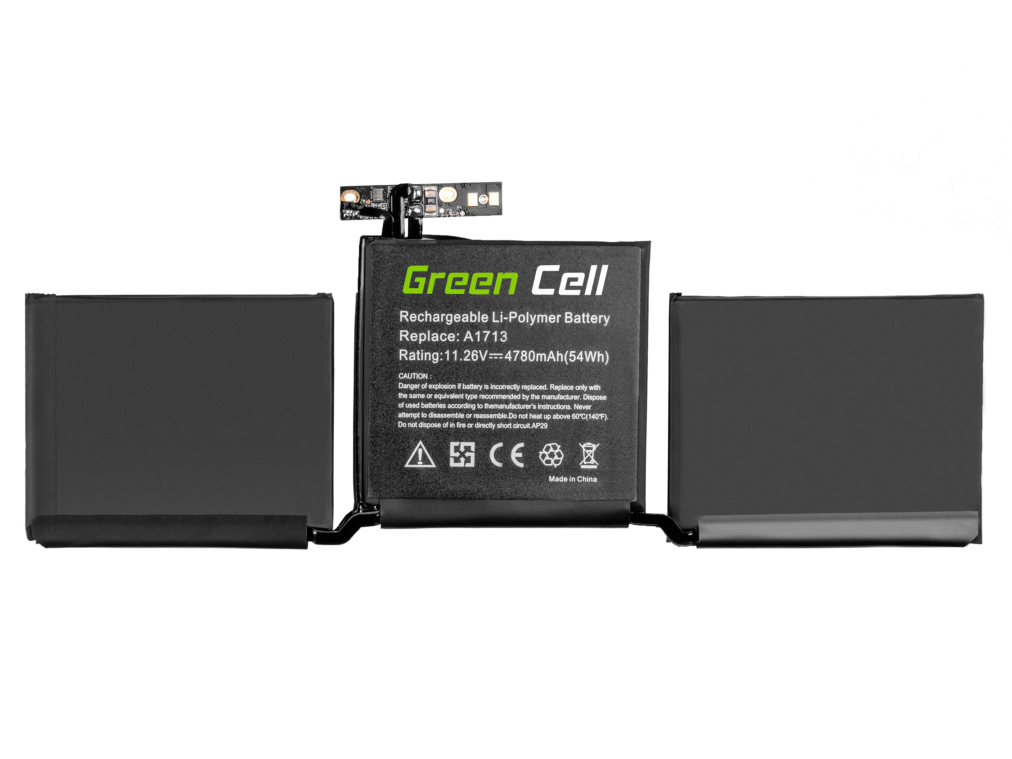 Laptop Battery A1713 for Apple MacBook Pro 13 A1708 (2016 and 2017, 2x thunderbolt)